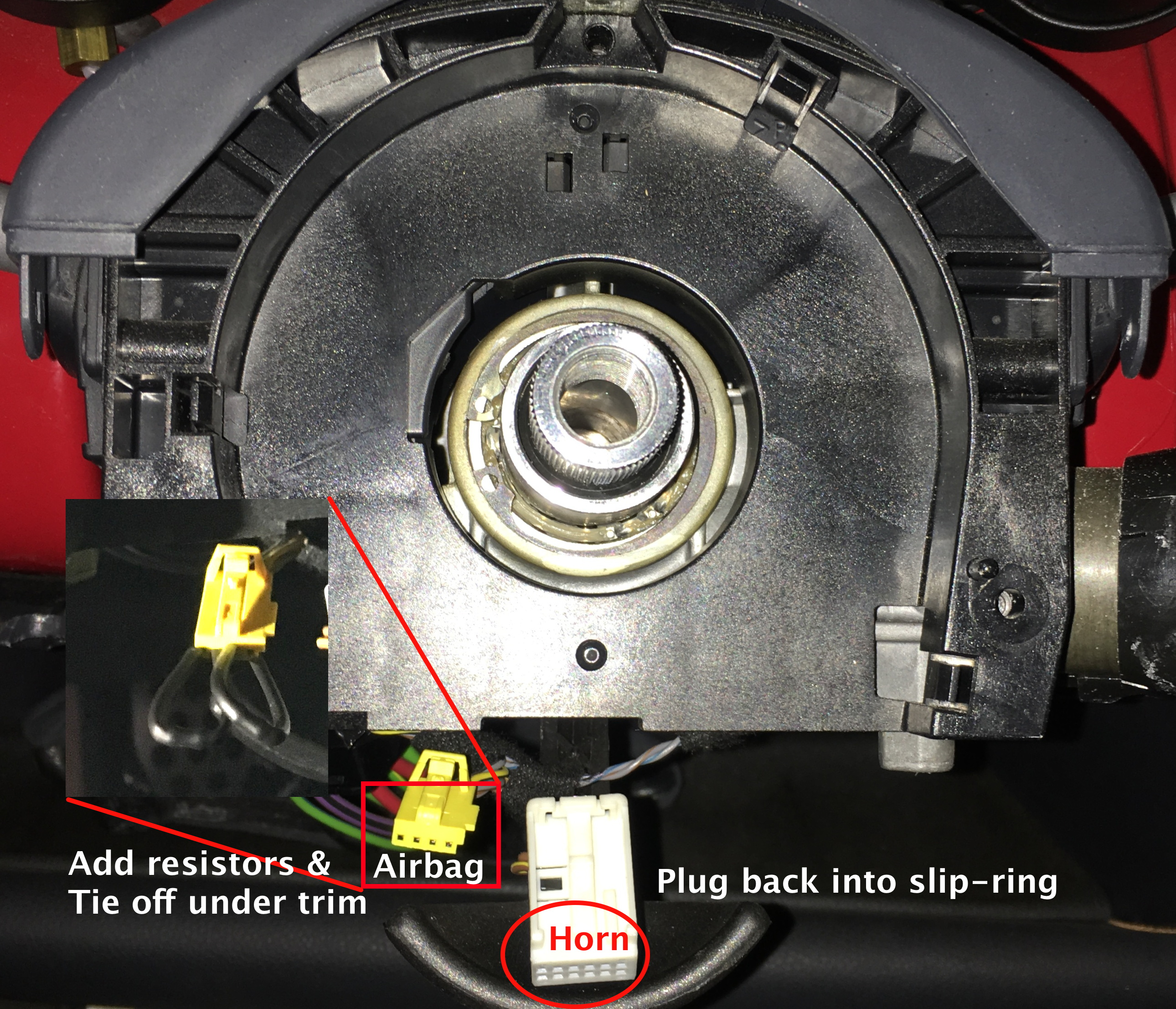 Mini Aftermarket Steering Wheel Qr Install Diy Georgeco Specr53 Blog Cooper Airbag Wiring Diagram Together With S Before You The Hub Place Two Resistors Into Connector Formerly Plugged Slip Ring And Zip Tie It Back Out Of Way