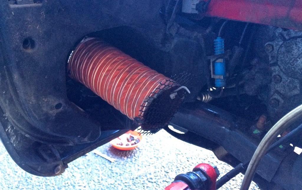 Tubing inside wheel well